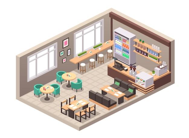 カフェやカフェテリアのリアルなイラストをベクトルします。インテリア、テーブル、ソファ、座席、カウンター、レジ、ショーケースのケーキデザート、棚の上のボトル入りドリンク、コーヒーマシン、装飾の等角図
