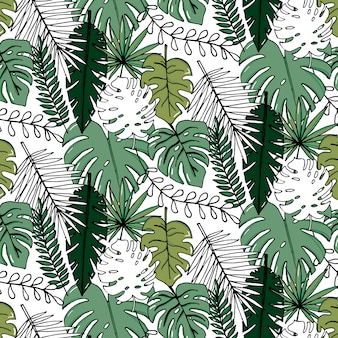 Vector realistic illustration set of tropical leaves