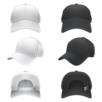 Vector realistic illustration of a white and black textile baseball cap front, back and side view