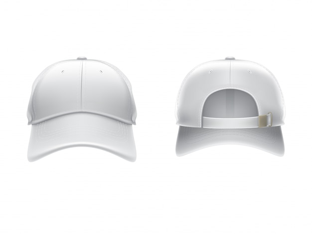 Vector realistic illustration of a white textile baseball cap front and back