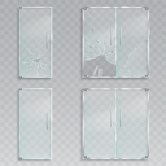 Vector realistic illustrations of a layout of an entrance glass doors with metal handles unscathed and broken glass