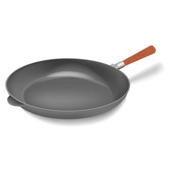 Вектор реалистичные железный гриль сковорода с ручкой иллюстрации