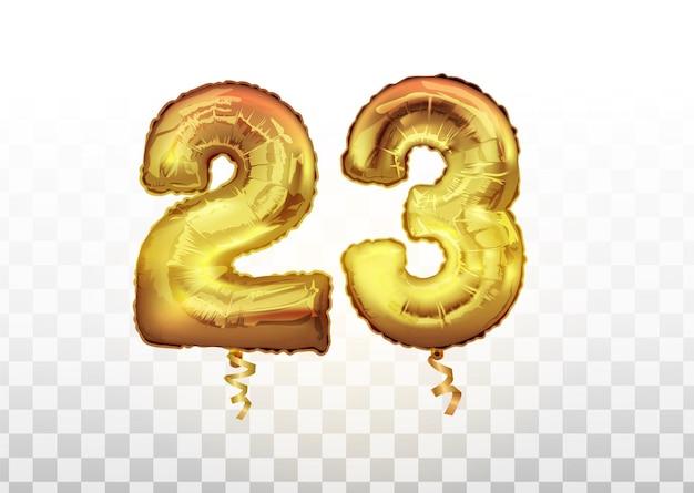 투명한 배경에서 초대 장식을 위한 벡터 현실적인 격리된 황금 풍선 번호 23입니다. 행복한 휴가, 축하, 생일, 카니발, 새해를 위한 기념일 기호.