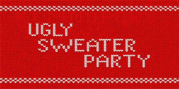 Vector realistic isolated knitted typography logo of ugly sweater party for template decoration and invitation covering on the red sweater background. concept of happy new year.