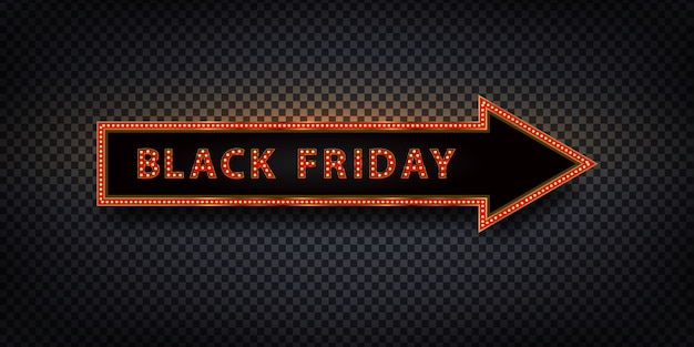 Vector realistic isolated neon billboard arrow for black friday for decoration and covering.