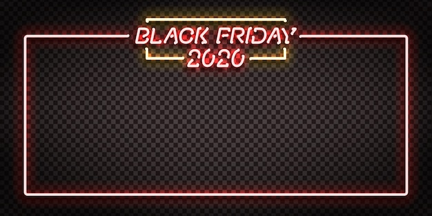 Vector realistic isolated neon sign of black friday 2020 frame for template decoration and invitation design.