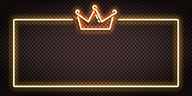Vector realistic isolated neon sign of crown frame logo for decoration and covering.