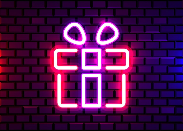 Vector realistic isolated neon sign of gift logo for decoration on the wall.