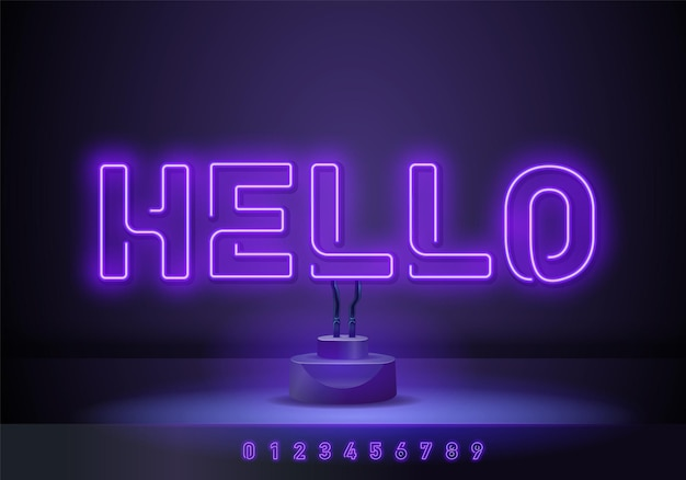 Vector realistic isolated neon sign of hello lettering for decoration. hello neon sign design template modern trend design night neon signboard night bright advertising light banner light art.