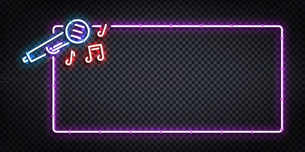 Vector realistic isolated neon sign of karaoke flyer logo for template decoration and invitation covering. concept of night club and party.