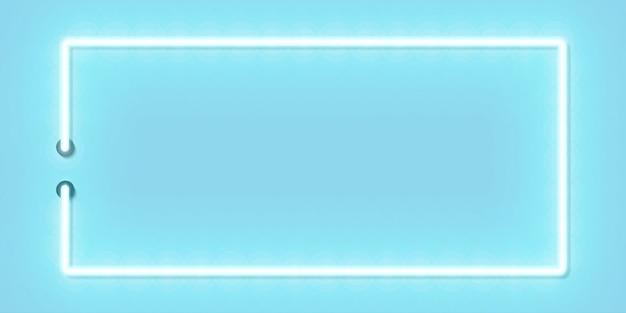 テンプレートとシアンスペースのレイアウトの青いパノラマ長方形フレームのベクトル現実的な分離ネオンサイン。
