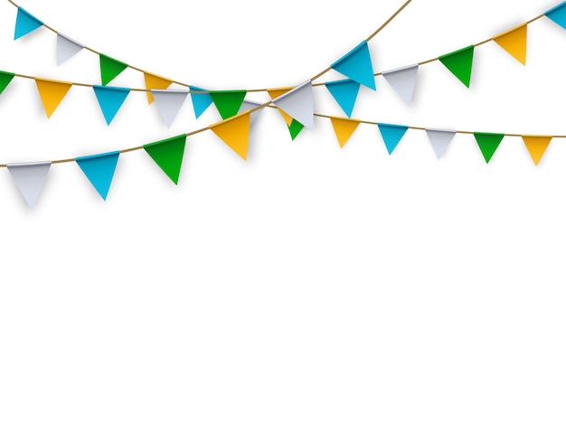 Vector realistic isolated party flags for decoration and covering on on white background.