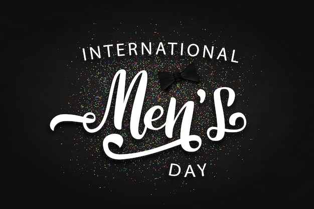 Vector realistic isolated poster with confetti and lettering for international men's day