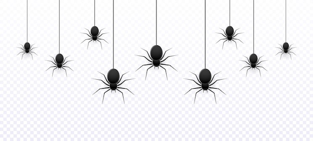 Vector realistic isolated seamless pattern with hanging spiders for decoration
