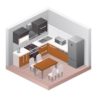 ベクトルの現実的なキッチンのインテリア。モダンな家具のデザイン、アパートや家のコンセプト。部屋、ダイニングテーブル、椅子、キャビネット、コンロ、冷蔵庫、調理器具、室内装飾の等角図