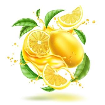 葉とベクトルの現実的なレモンスプラッシュフロー
