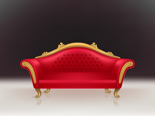 Vector realistic luxurious red velvet sofa with golden carved legs on black background, white floor.