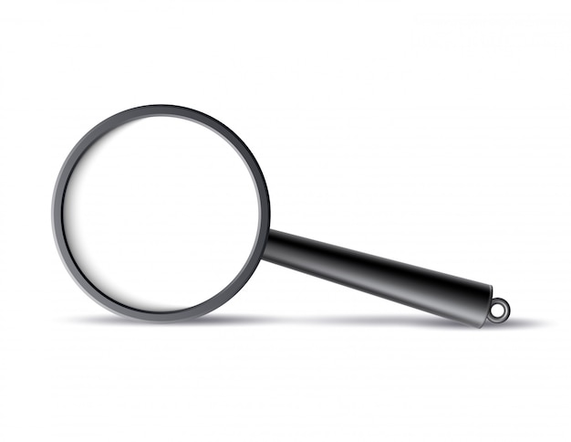 Vector realistic magnifying glass, lens isolated