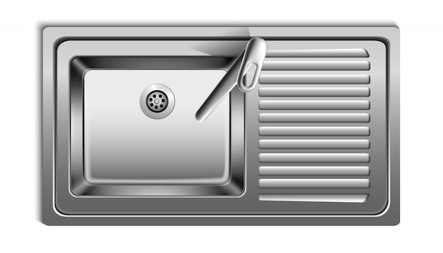 Vector realistic metal sink from top view. isolated on white background.