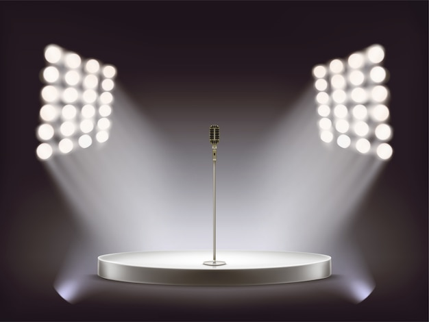 Vector realistic microphone on empty round stage