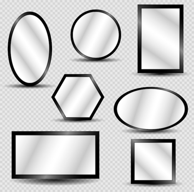 Vector realistic mirrors set with blurry reflection.