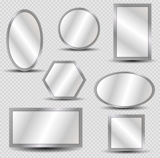 Vector realistic mirrors set with blurry reflection