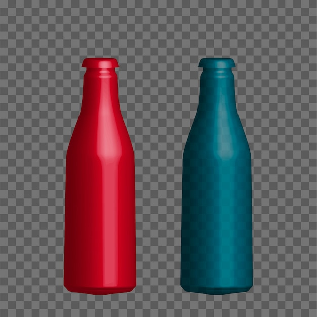 Vector realistic mock up bottle of mineral water, juice.