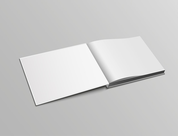 ハードカバーで開いた本の風景の向きの現実的なモックアップページをベクトルします。
