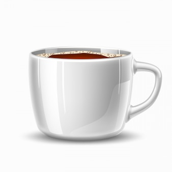 Vector realistic mug, cup of coffee side view