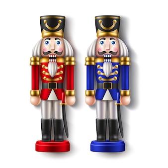 Vector realistic nutcracker soilder toy for merry christmas decor Premium Vector
