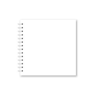 ベクトルの現実的な開いたノートブックカバー。スクエアホワイトメタリックスパイラルバウンドブランクノート、コピーブック、パンフレット、メニュー。分離されたオーガナイザーまたは日記のテンプレートモックアップ。