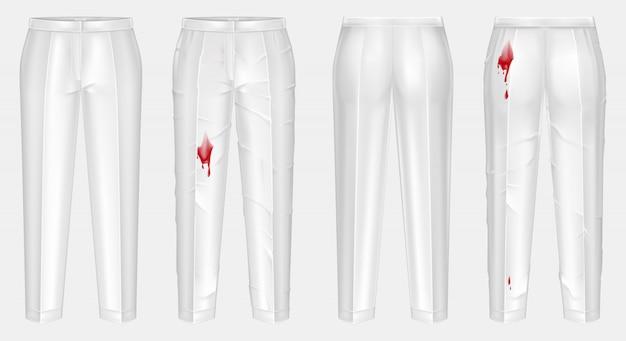 Векторные реалистичные брюки до и после мытья