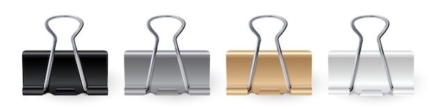 Вектор реалистичные канцелярские скрепки черный, белое золото, серебро, скрепка, зажим для бумаги, держатель для бумаги