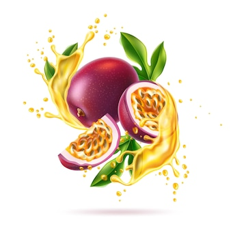 Vector realistic passionfruit with slices seeds and green leaves in juicy splash explosion