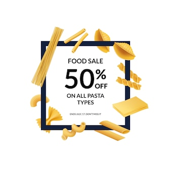 Vector realistic pasta types banner discount