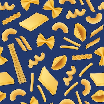 Vector realistic pasta types seamless pattern