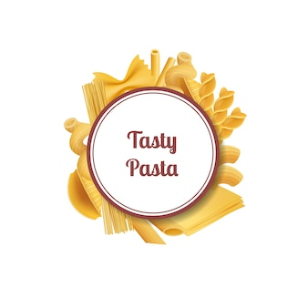 Vector realistic pasta types with white circle frame