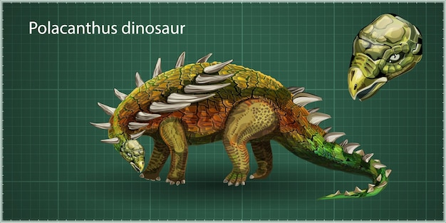 Vector realistic polacanthus dinosaur of jurassic period, prehistoric extinct giant reptile cartoon realistic animal. isolated on a green background. side view, profile.