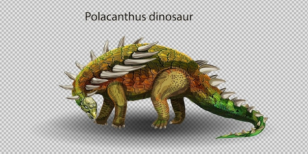 Vector realistic polacanthus dinosaur of jurassic period, prehistoric extinct giant reptile cartoon realistic animal. isolated on a white background.