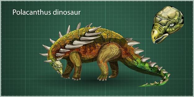 Вектор реалистичный полакант динозавр юрского периода, доисторические вымершие гигантские рептилии, реалистичные мультяшное животное. изолированные на зеленом фоне. вид сбоку, профиль.