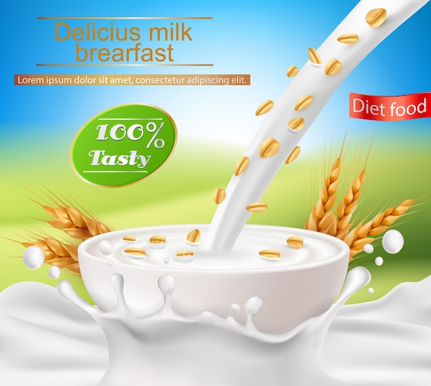 Vector poster realistico con una spruzzata di latte e latte versando in una tazza con una colazione a base di cereali