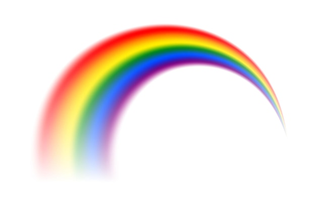 Vector realistic rainbow isolated on white background.