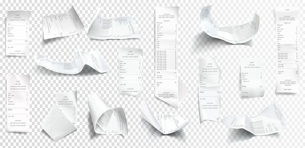 Vector realistic receipt collection, bill or check