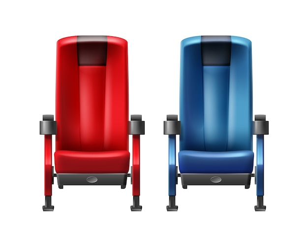 Vector realistic red and blue cinema seats front view close up isolated on white background