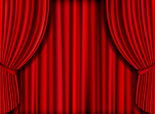 Vector realistic red curtain for product launches