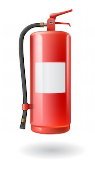 Vector realistic red fire extinguisher