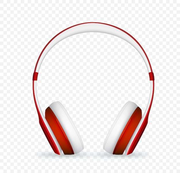 Vector realistic red headphone.