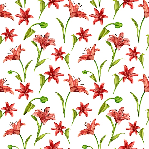 Vector realistic red lily flowers with leaves seamless pattern