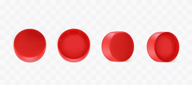 Vector realistic red plastic bottle caps