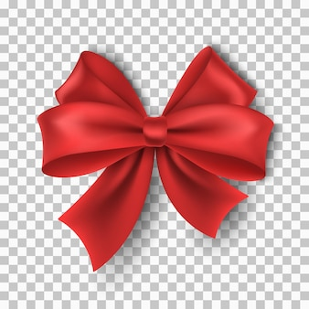 Vector, realistic, red ribbon with bow isolated on transparent background for christmas, new year, party, sale or birthday. luxury, silk tape. realistic design element for holiday. eps 10.